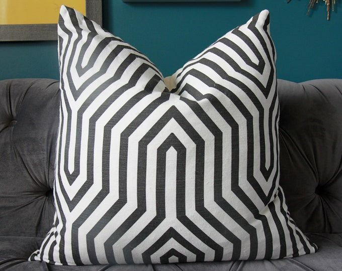 Schumacher Vanderbilt Print Pillow Cover in Noir - Mary McDonald - Black Geometric Pillow Cover