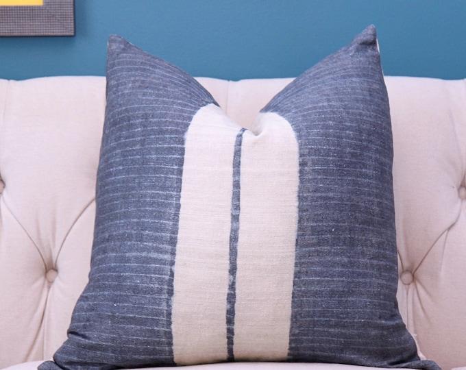 Modern Indigo Blue - Blue Linen - Motif Pillows -Blue and Ivory Stripe - Dark Blue Decor