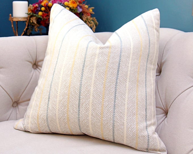Sale - Ivory Wheat Neutral Pillow Cover with Sea foam Green and Yellow Stripes - Woven herringbone fabric