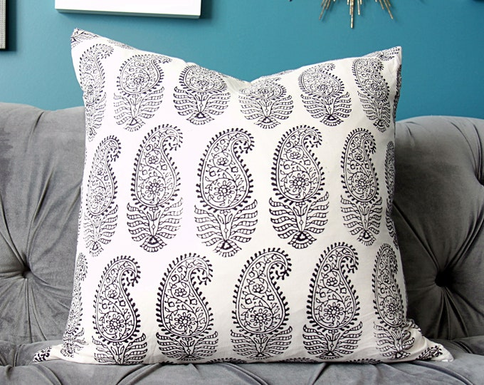 Sale - Black and Off White Paisley Block Print Pillow Cover - Authentic Indian Block Print Fabric - Global Home Decor