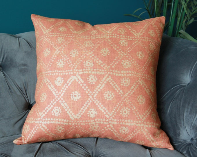 Carolina Irving Zig Zag in Coral Pillow Cover - Orange Coral Gold Pillow Cover - Tangerine
