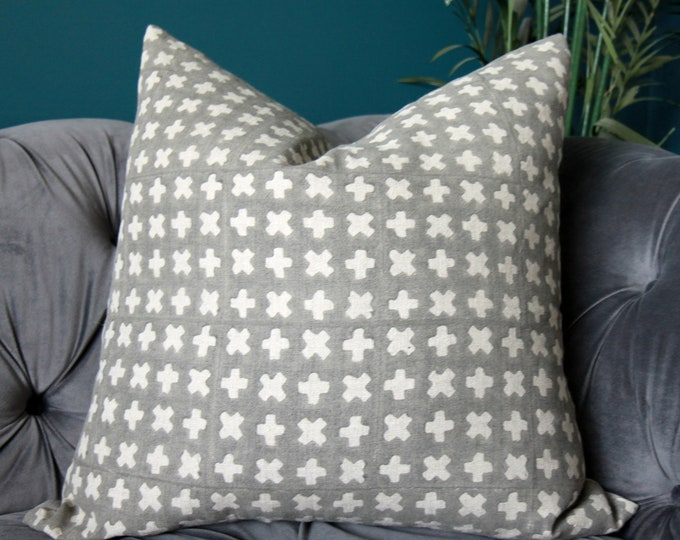 Pavement Linen Pillow Cover - Contemporary Modern Hand Printed Pillow Cover - Grey Linen Pillow Cover