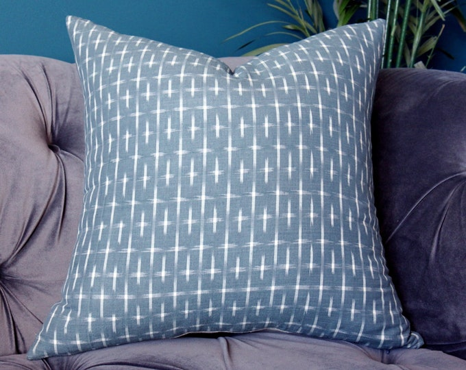 Karuso in Mineral Pillow Cover -Kufri Life Ikat - Slate Blue and White Pillow Cover