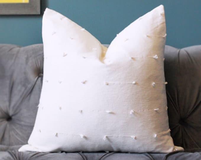 Schumacher White Handloomed pillow cover - woven in India - White Boho - Tassel Pillow Cover