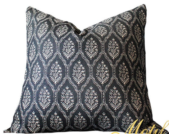 Peter Dunham Jaali Pillow Cover - Modern Black & Off White Pillow Cover - Motif Pillows - Global home decor - Onyx Black and Off White