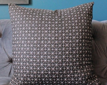 Zak and Fox - Fanorona-  Macaco  - Home Decor - Off Black and Ivory Designer Pillow Cover - Modern Black Geometric Pillow Cover