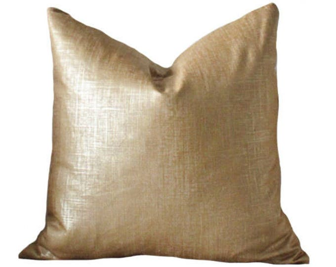 Bronze Gold Pillow - Metallic Pillow Cover -Throw Pillow Cover - Linen Gold Neutral Pillow - Motif Pillows