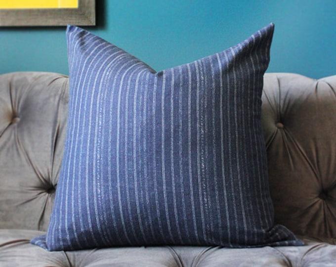 Blue Pillow Cover - Modern Indigo Blue Pink Stripe Pillow Cover- Blue Linen Pillow Cover - Motif Pillows - Dark Blue Decor
