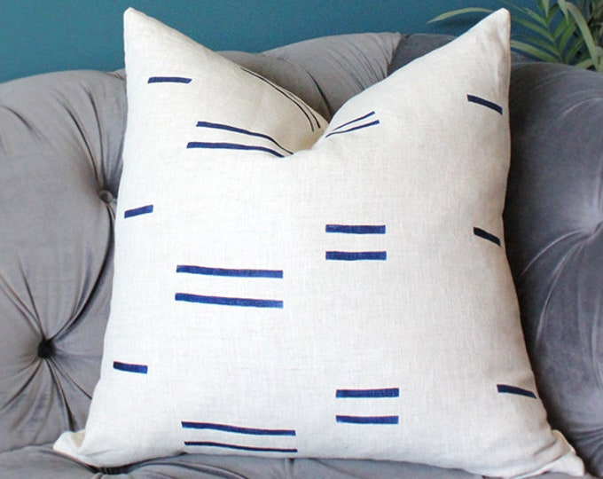 Schumacher Natural and Blue Linen Stripe Pillow Cover - Oaxaca