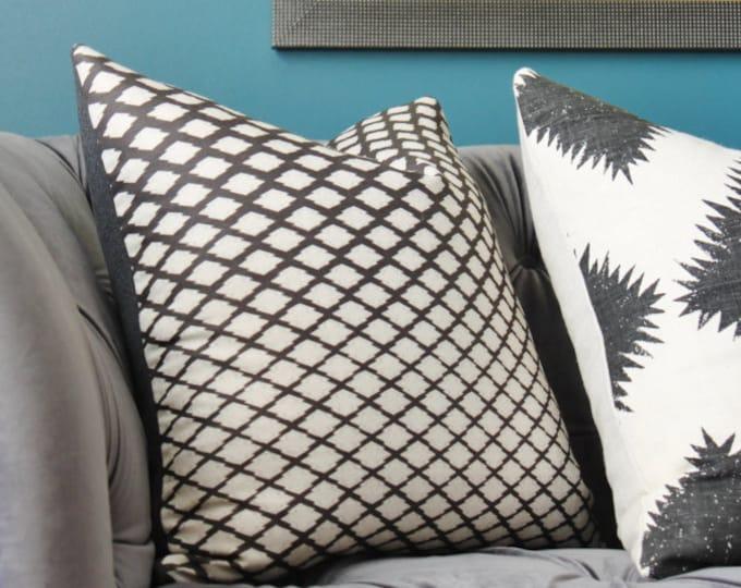 Zak and Fox Matsu Ink Pillow Cover- Black Linen Designer Geometric Throw - Modern  Neutral Pillow - Tribal - Bohemian Pillow - Global Design