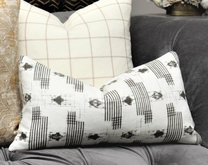 Zak & Fox Designer Linen Pillow Cover - Charcoal Bohemian Off White Grey Ikat Modern Pillow Cover - Geometric Neutral Pillow - YAMATO