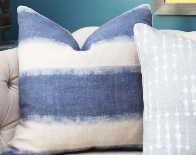 Blue Pillow Cover - Modern Indigo Blue - Blue Linen Pillow Cover - Motif Pillows -Blue and Ivory Stripe - Dark Blue Decor