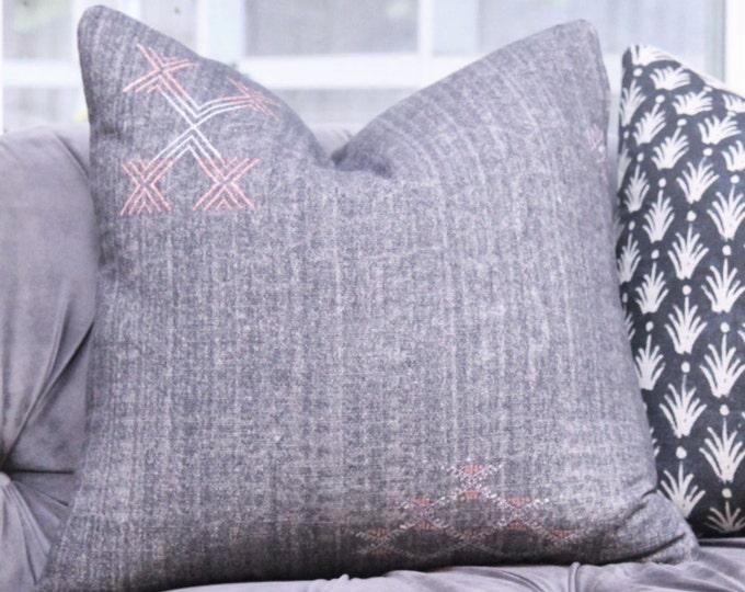 Grey Black Boho Pillow Cover - Modern Dark Gray Charcoal Pillow Cover - 20 x 20 Gray Geometric Modern Home Decor