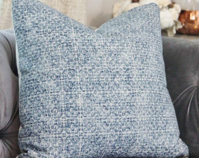 Blue Geometric Modern Indigo Pillow Cover - Bohemian Blue Pillow Cover - Motif Pillows - Textile Batik - Dark Blue and Ivory Decor