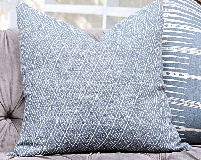 Peter Dunham Atlas in Indigo - Blue Linen - Designer Blue and Off White Pillow Cover - Motif Pillows - Global home decor