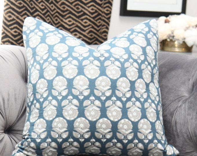 Slate Blue Greige Block Print Floral Pillow Cover - Bohemian Blue/Dark Teal Gray Pillow Cover - Motif Pillows - Dark Blue Decor