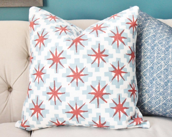 Peter Dunham Pillow Cover - Starburst Red and Blue - Off White Blue and Red Geometric  - Boho Southwest Decor- Motif Pillows - Gray Pillow