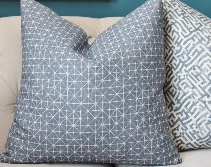 Zak and Fox - Fanorona-  Lagoon  - Home Decor - Blue Designer Pillow Cover - Modern Blue Geometric Pillow Cover