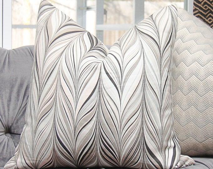 "Ready to Ship - 22"" Schumacher Firenze - Conch Blush - Geometric Pillow Cover - Herringbone - Designer Blush Tan Black - High End Pillow"
