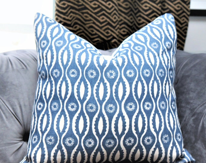 Raoul Linen Pillow Cover - Bohemian Pillow Cover- Dominic Indigo Linen Pillow Cover - Neutral Decor - Geometric Floral Blue and Natural