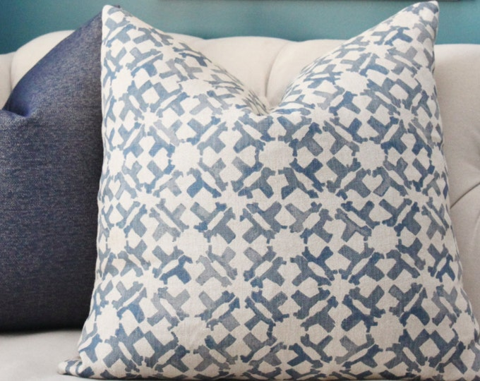 Peter Dunham Orcha Indigo Pillow Cover - Blue Natural Geometric Linen - Designer Blue - Motif Pillows