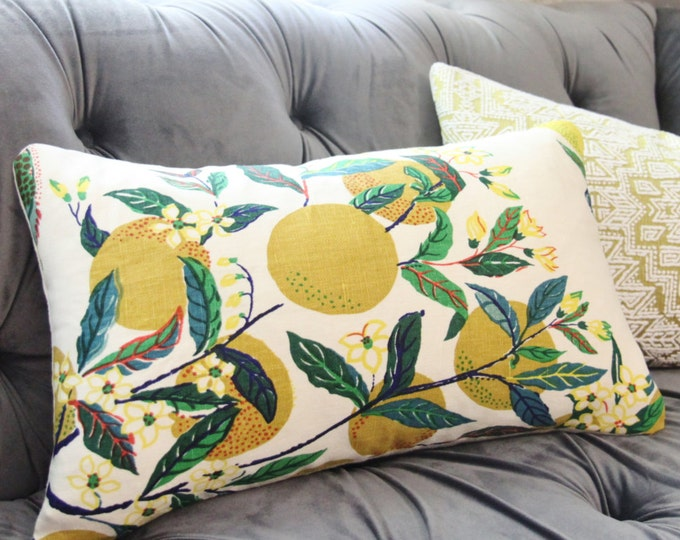 Schumacher Designer Linen - Citrus Garden Floral Primary Pillow Cover - Blue Green & Chartreuse - Botanical Cushion - Motif Pillows