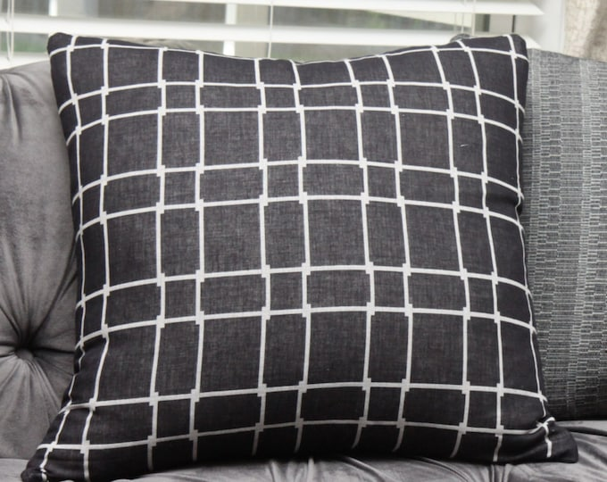 Black Geometric Pillow Cover - Black and Off White Decorative Pillow - Hand Dyed - Motif Pillows - Color Blocking - Buffalo Check Plaid