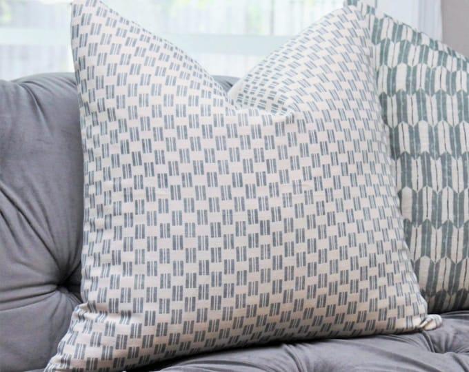 Zak and Fox Kesa Snow Pillow - Light Blue Designer Pillow Cover - Geometric Throw - Moder Neutral Tribal - Bohemian - Motif Pillows