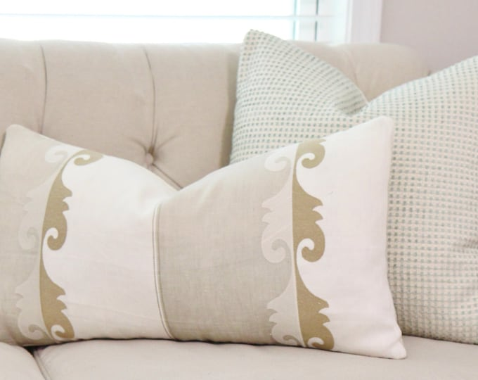 Designer Neutral Linen Pillow - Gray Gold and Ivory Pillow Cover - Gold Lumbar Pillow Cover- Color Block - Jim Thompson Pillow Cover
