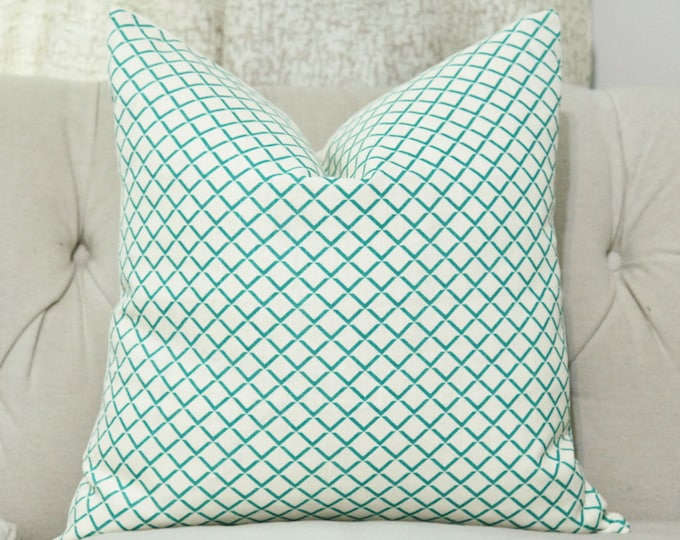 SALE - Quadrille Terrace Pillow Cover- Turquoise and Creme Pillow Cover - Teal Geometric Throw  - China Seas Designer Linen Pillow