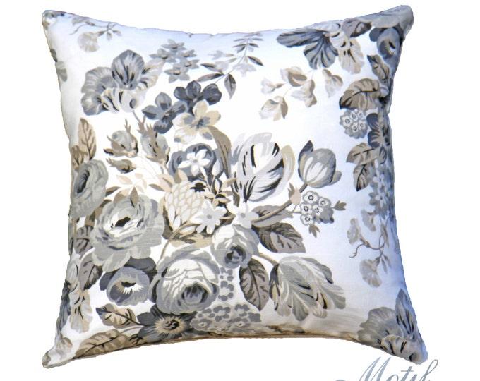 SALE - Floral Pillow Cover - Black Floral Pillow - Grey & Ivory Pillow Cover - Designer Throw Pillow - Motif Pillow