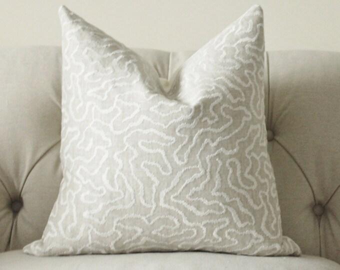 Schumacher Pillow Cover - Greige Pillow- Grey Beige Off White Geometric Pillow Cover - Grey Linen Throw Pillow - Designer Pillow