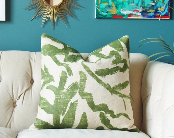 Zak and Fox Pillow Cover - Sauvage Raffia Pillow Cover - Brush Strokes Green and Flax Pillow Cover - Palm Pillow Cover - Dark Green