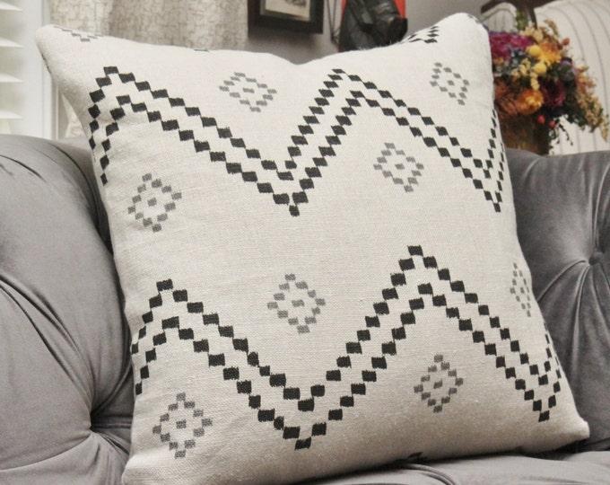Peter Dunham Pillow Cover - Taj Onyx Ash - Oyster Black and Gray Zig Zag Chevron - Boho Southwest Decor- Motif Pillows - Black Pillow