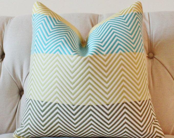 Sale 35.00 - Designer Geometric Pillow Cover - Blue Aqua Green Citrine Pillow Cover - Blue Green Chevron Zig Zag Pillow Cover