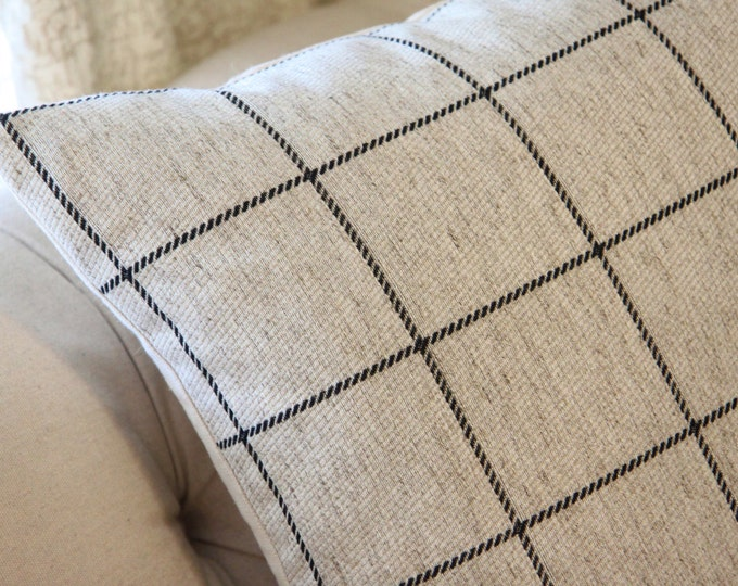 Check Pillow Cover- Black Gray & Ivory Plaid Pillow Cover -Light Gray Ivory Pillow - Throw Pillow - Check Woven Pillow Cover - Motif Pillows
