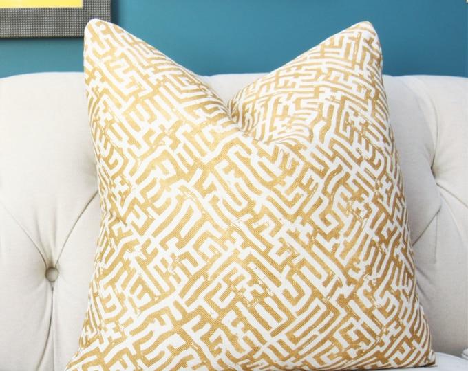 Zak and Fox Pillow Cover - BASILICA in Goldwork  - Designer Pillow Cover - Yellow Gold Geometric - Greek Key - Boho - Yellow Home Decor
