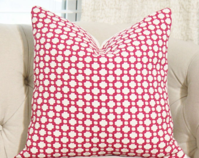 Betwixt Magenta Pillow Cover - Dark Pink and Off White Pillow Cover - Designer Pillow - Pink Throw Pillow - Toss Pillow Cover - Schumacher