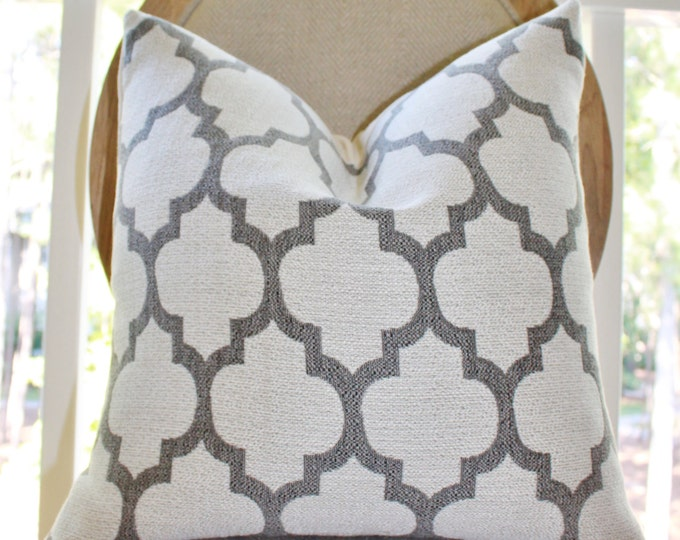 Sale - 25.00 Grey Quatrefoil Pillow Cover and  Ivory Decorative Moroccan Pillow Cover - Throw Pillow