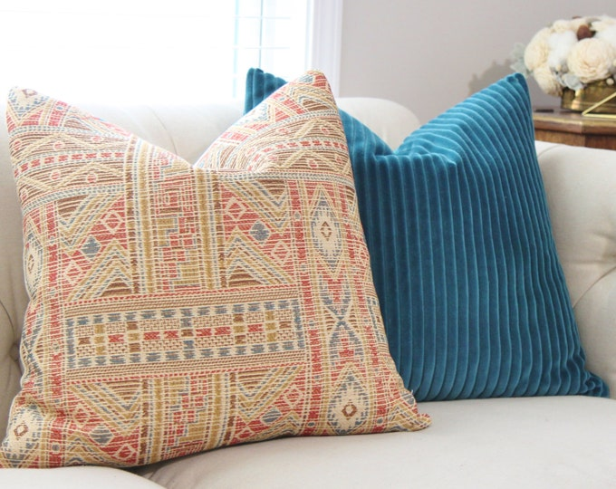 SALE 25.00 20 x 20 - Southwestern Aztec Pillow Cover - Bohemian Couch Pillow  - Gold Blue Red & Brown Woven Pillow - Tribal Throw Pillow