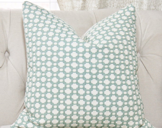 Schumacher Betwixt Pillow Cover - Water Ivory - Designer Pillow - Sea Glass Pillow- Throw Pillow - Designer Pillow - Sea Foam Green