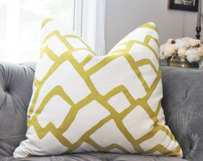 Schumacher Pilow Cover - Schumacher Zimba Soft Chartreuse - Designer Pillow Cover - Neutral Geometric Zig Zag Pillow -