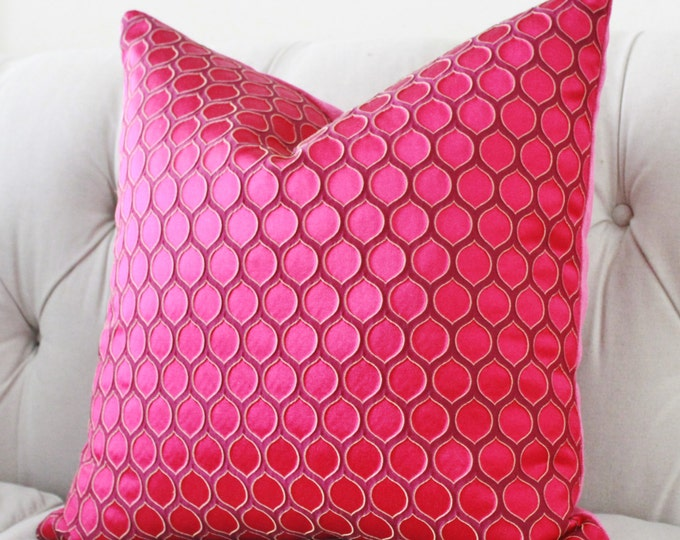 Pink Pillow Cover - Raspberry Pink Geometric Pillow - Fuchsia Pillow - High End Pillow Cover - Throw Pillow