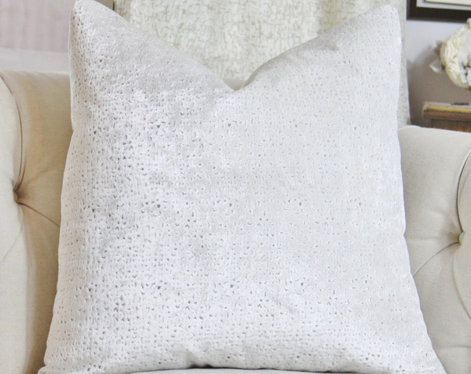 LAST ONE White Pillow-  Pearl White Velvet Geometric Pillow Cover -  Throw Pillow - Spotted Pillow Cover - Cowtan & Towt - Winter Home Decor