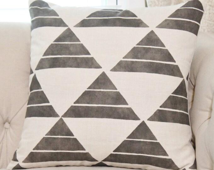 Zak and Fox Uroko Ink Pillow - Black Linen Designer Pillow Cover - Geometric Throw - Moder Neutral Tribal - Bohemian - Motif Pillows