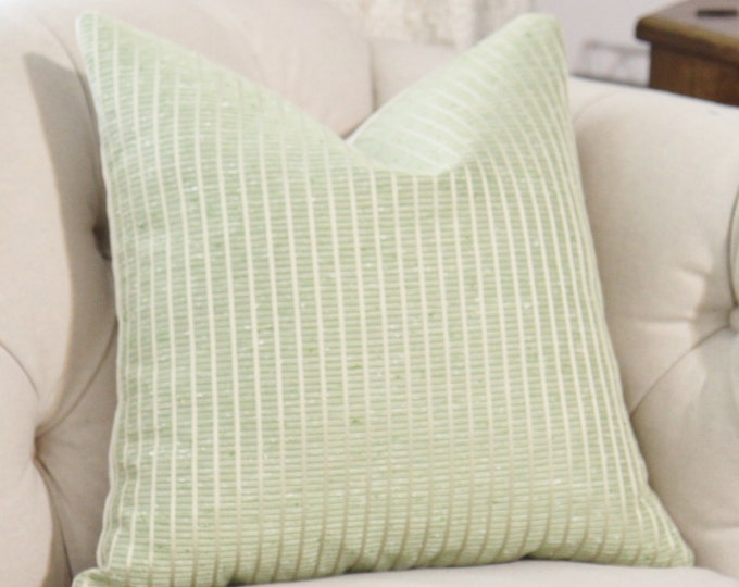 """Sale 35.00 18""""  Donghia Belleville - Green White  Gold Woven Striped Pillow Cover - Light Green Cushion - Celery Green"""