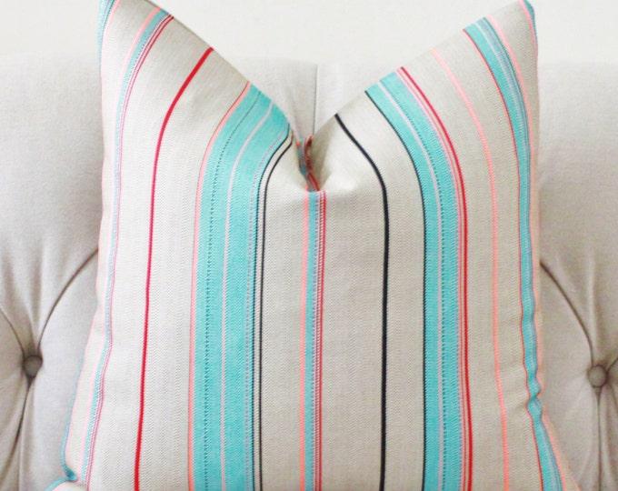 "SALE 35.00 18"" or 20"" - Colorful Stripe Pillow - Aqua Orange Red & Black Striped Pillow Cover - Modern Geometric Neutral Pillow"