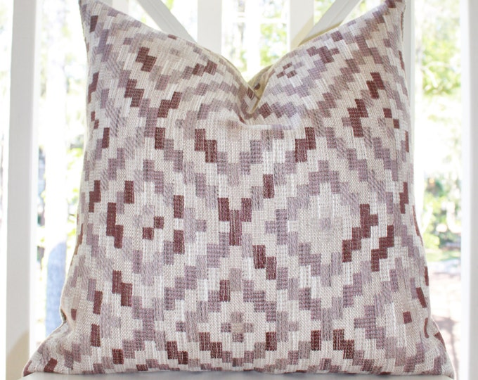 SALE 25.00 Designer Fig Plum Purple Lilac Geometric Pillow Cover - Aubergine Pillow