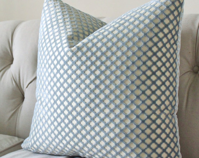 2) 16 x 20 Pomfret Blue Pillow Cover - Scalamandre - Cut Velvet Pillow- Blue Throw Cushion