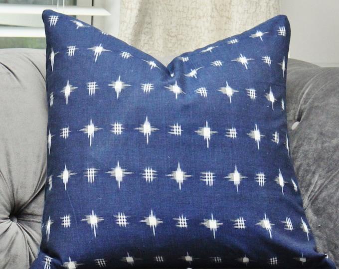 12 x 18 or 12 x 20 Blue White Ikat Pillow Cover - Modern Indigo Blue Decorative Pillow - Hand loomed Ikat - Hand Dyed - Motif Pillows